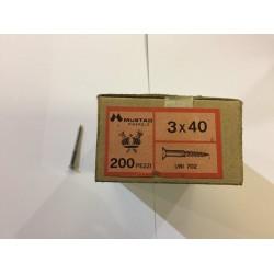 Viti 3x40 testa piana filetto parziale zincate